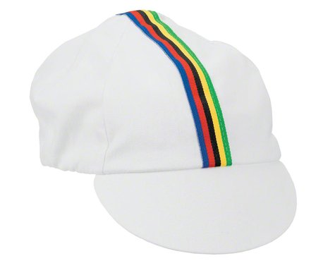 Pace Sportswear Traditional Cycling Cap (White/World Champion Stripe)