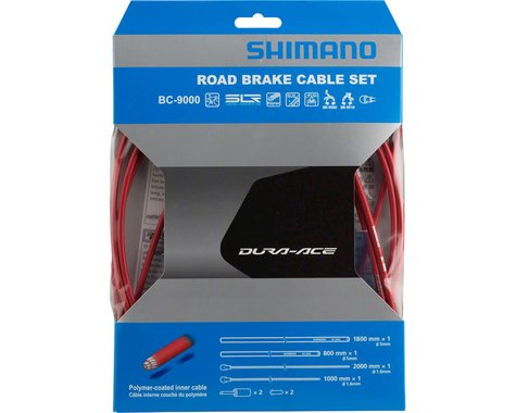Shimano Dura-Ace BC-9000 Road Brake Cable Set (Red) (Polymer-Coated) (1.6mm) (1000/2050mm)